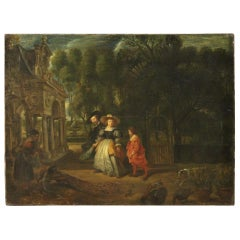 19th Century Oil on Canvas Antique Flemish Painting Landscape with Characters
