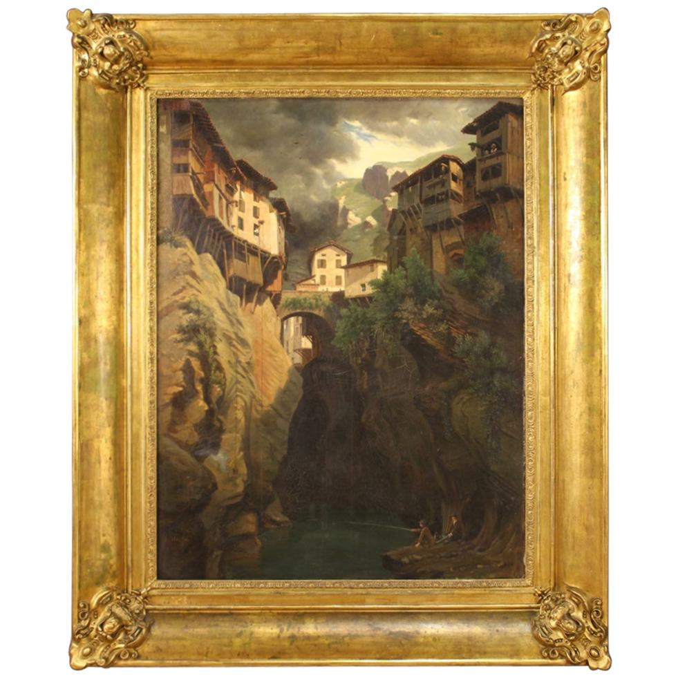 19th Century Oil on Canvas Antique French Signed Landscape Painting, 1845