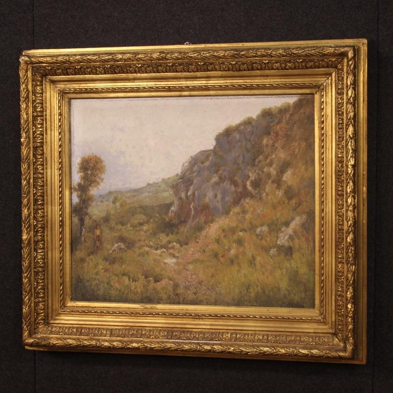 19th Century Oil on Canvas Antique French Signed Landscape Painting, 1870 For Sale 7