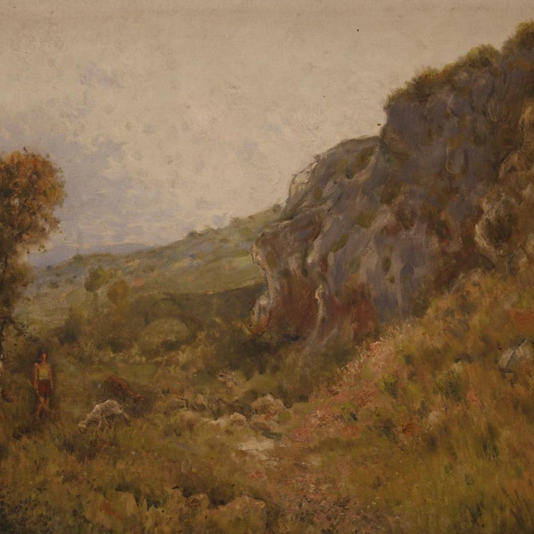 19th Century Oil on Canvas Antique French Signed Landscape Painting, 1870 In Good Condition For Sale In Vicoforte, Piedmont