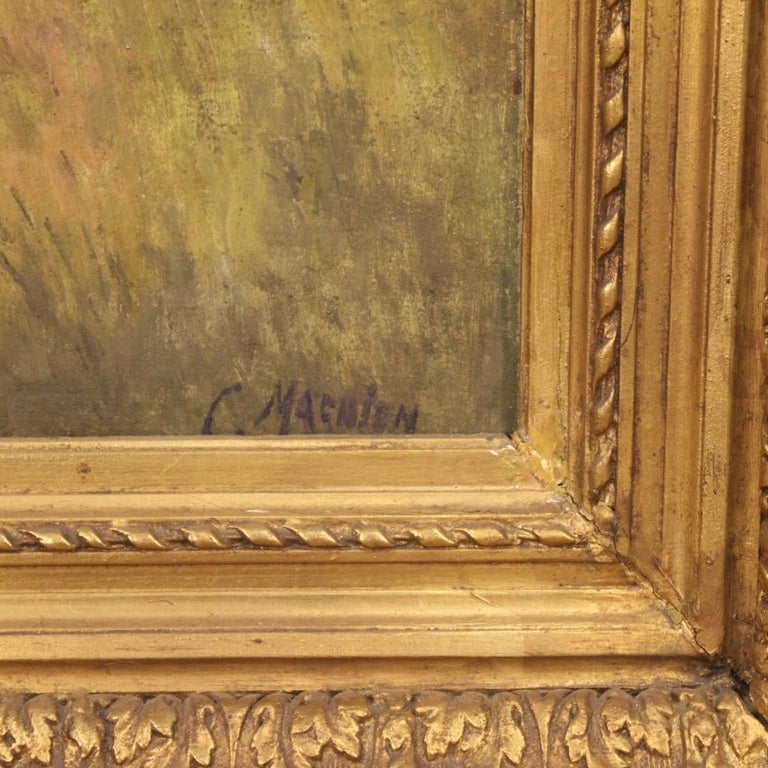19th Century Oil on Canvas Antique French Signed Landscape Painting, 1870 For Sale 1