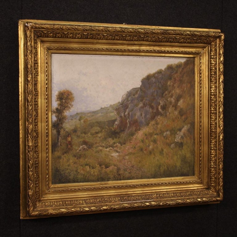 19th Century Oil on Canvas Antique French Signed Landscape Painting, 1870 For Sale 2