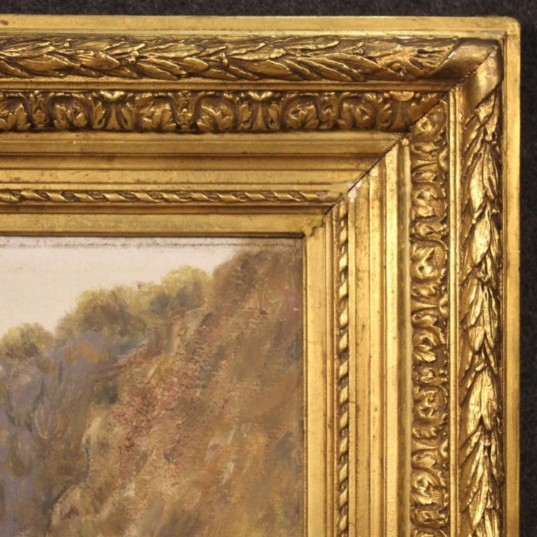 19th Century Oil on Canvas Antique French Signed Landscape Painting, 1870 For Sale 3
