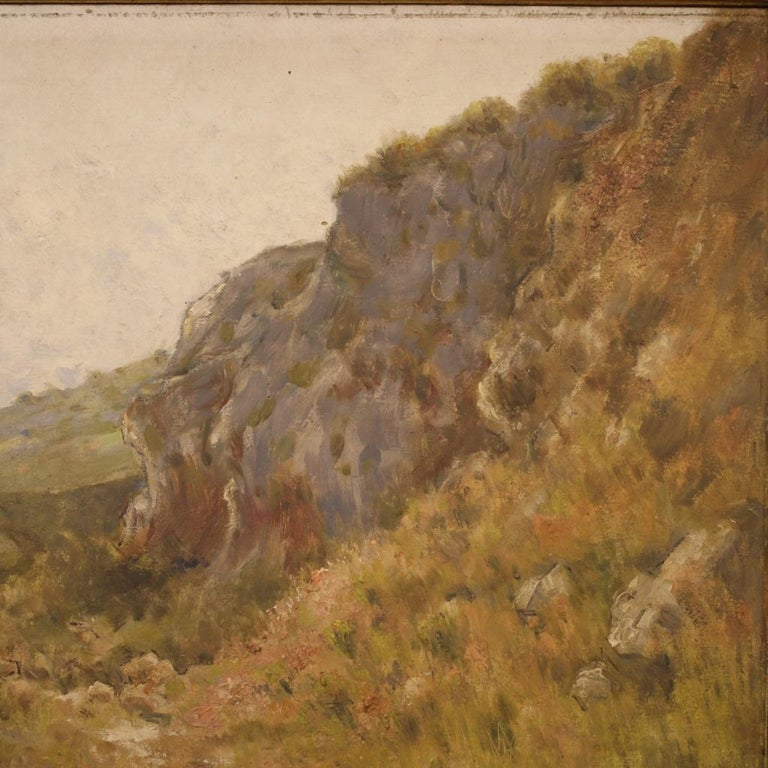 19th Century Oil on Canvas Antique French Signed Landscape Painting, 1870 For Sale 4
