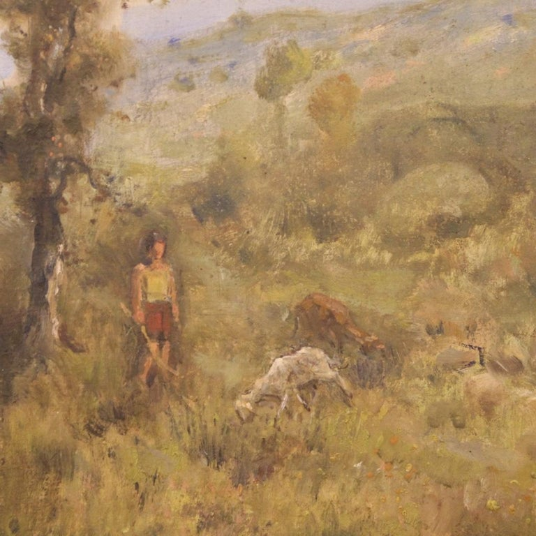 19th Century Oil on Canvas Antique French Signed Landscape Painting, 1870 For Sale 5