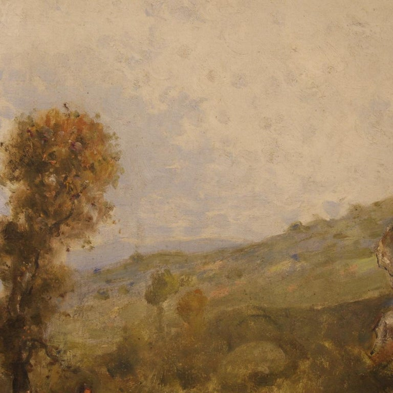 19th Century Oil on Canvas Antique French Signed Landscape Painting, 1870 For Sale 6