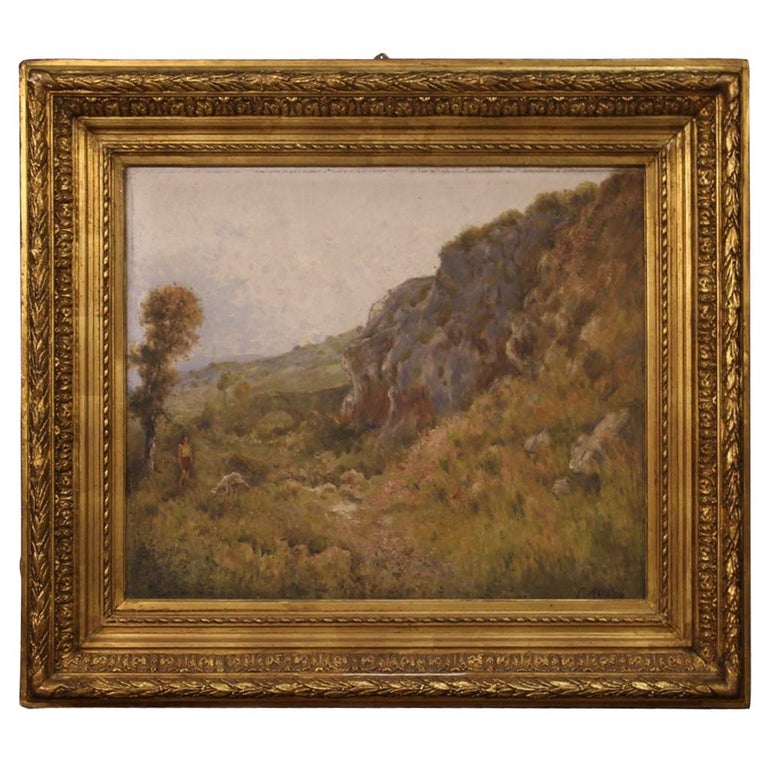 19th Century Oil on Canvas Antique French Signed Landscape Painting, 1870 For Sale