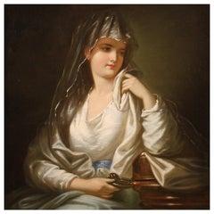 19th Century Oil on Canvas Antique German Female Portrait Painting, 1870