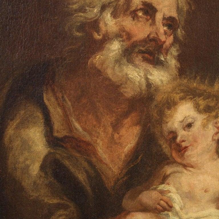 19th Century Oil on Canvas Antique Italian Painting Saint Joseph and Jesus, 1870 For Sale 5