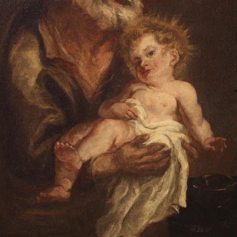 Gilt 19th Century Oil on Canvas Antique Italian Painting Saint Joseph and Jesus, 1870 For Sale