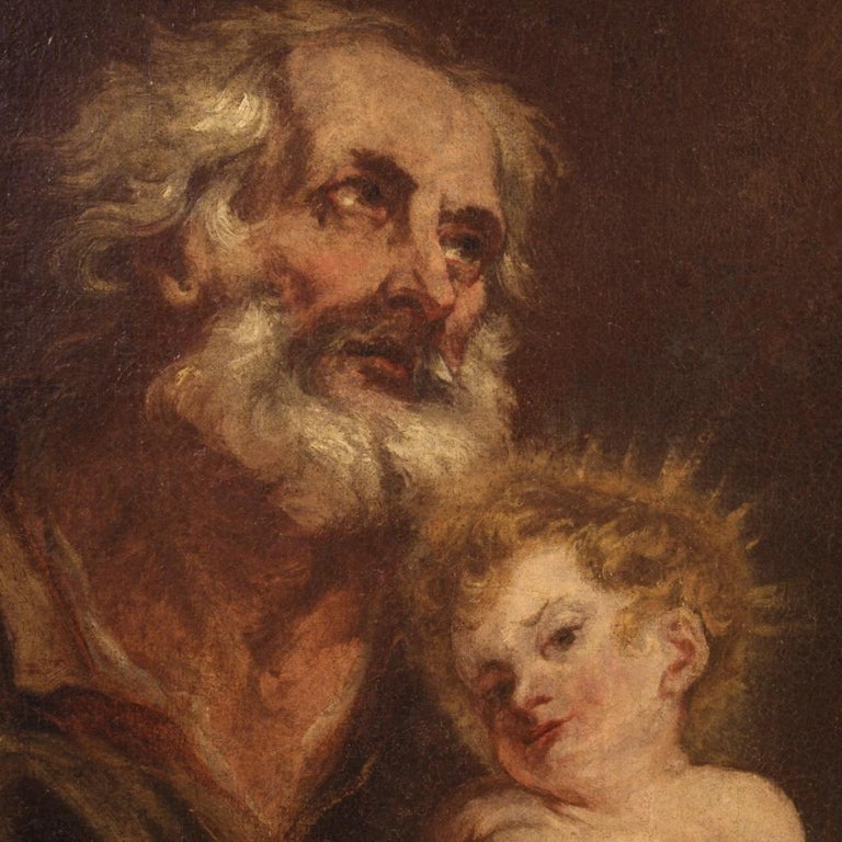19th Century Oil on Canvas Antique Italian Painting Saint Joseph and Jesus, 1870 In Good Condition For Sale In Vicoforte, Piedmont