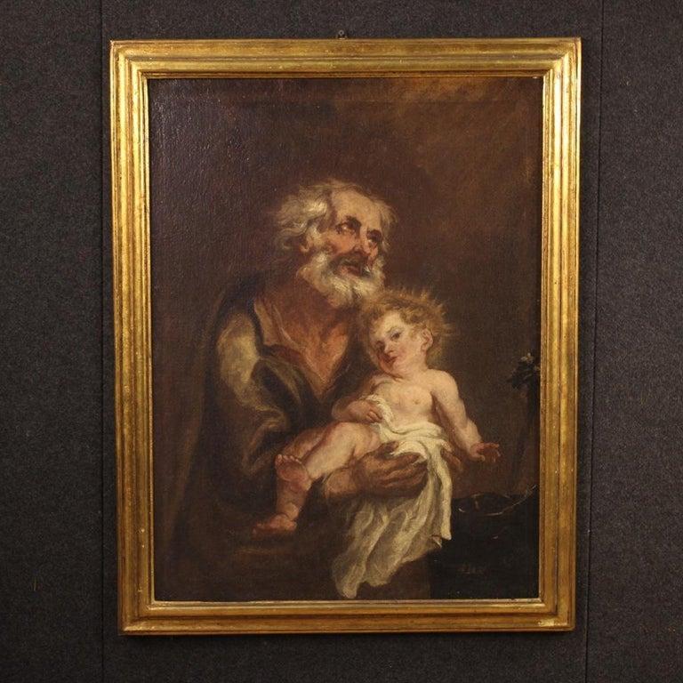 19th Century Oil on Canvas Antique Italian Painting Saint Joseph and Jesus, 1870 For Sale 3