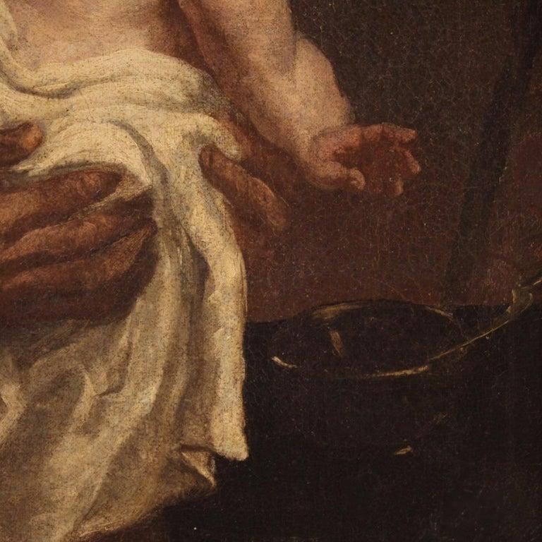 19th Century Oil on Canvas Antique Italian Painting Saint Joseph and Jesus, 1870 For Sale 4