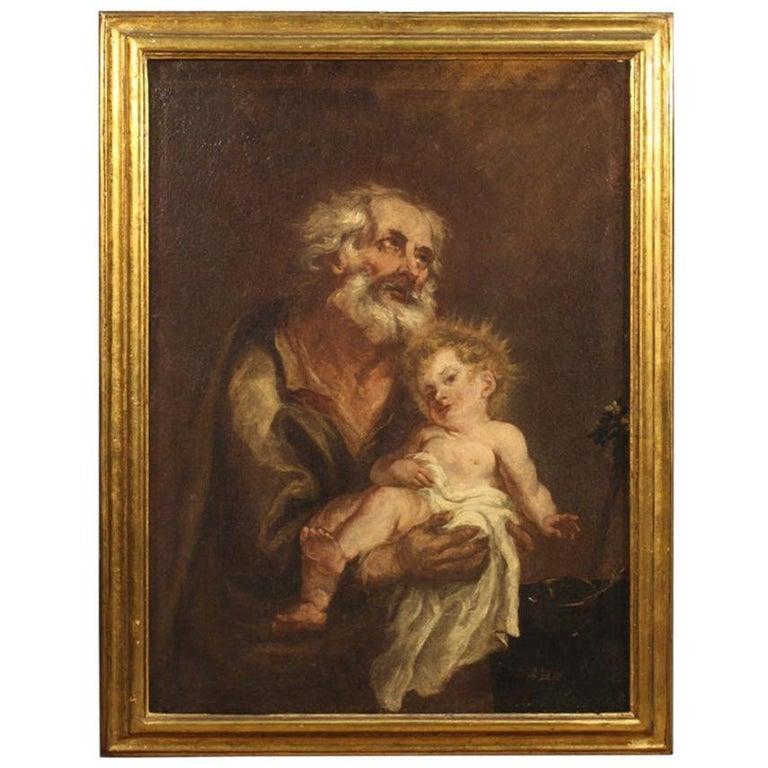 19th Century Oil on Canvas Antique Italian Painting Saint Joseph and Jesus, 1870 For Sale