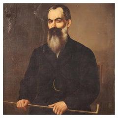 19th Century Oil on Canvas Antique Italian Portrait Painting, 1860