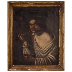 19th Century Oil on Canvas Antique Italian Portrait Painting Pipe Smoker, 1830