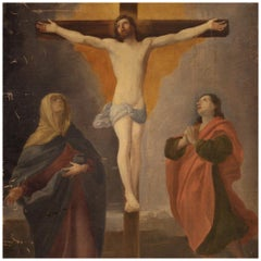 19th Century Oil on Canvas Antique Italian Religious Crucifixion Painting, 1860