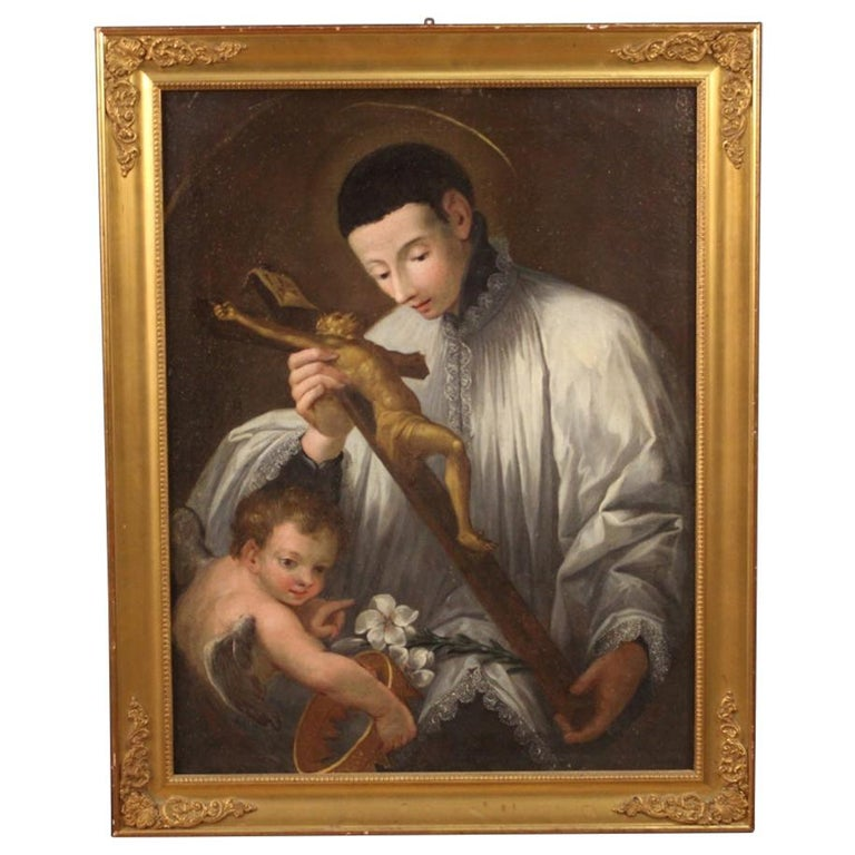 19th Century Oil on Canvas Antique Italian Religious Painting, 1830 For Sale
