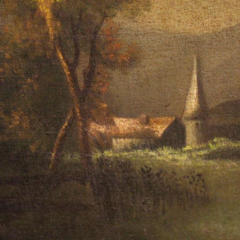 19th Century Oil on Canvas Antique Spanish Signed Landscape Painting, 1880 For Sale 5