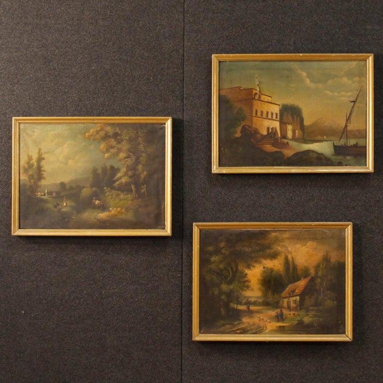 Antique 19th century Spanish painting. Work oil on canvas depicting bucolic landscape with characters of good pictorial quality. Carved and painted bronze wooden frame with some signs of wear (see photo). Painting signed at the bottom left (see