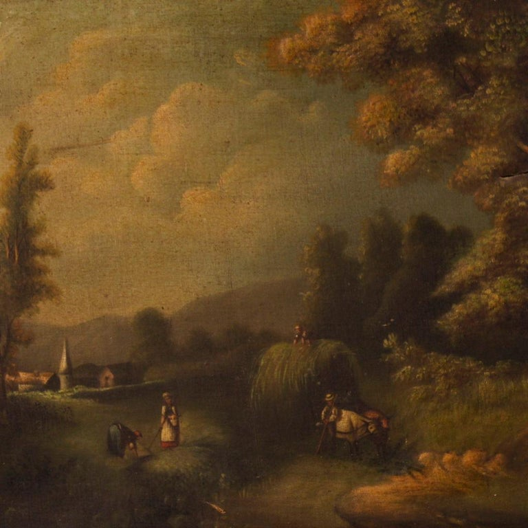 Carved 19th Century Oil on Canvas Antique Spanish Signed Landscape Painting, 1880 For Sale