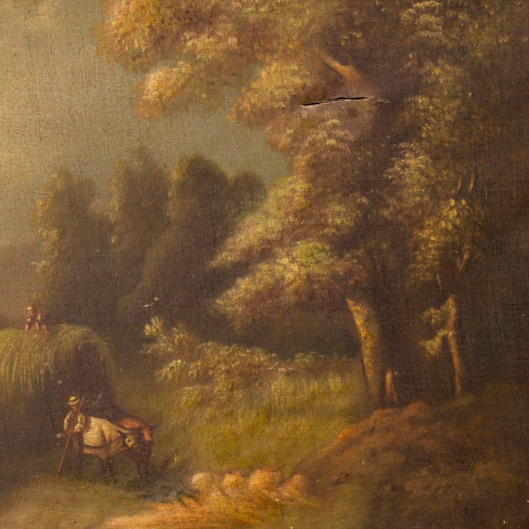 Late 19th Century 19th Century Oil on Canvas Antique Spanish Signed Landscape Painting, 1880 For Sale