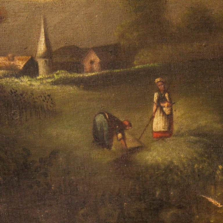 19th Century Oil on Canvas Antique Spanish Signed Landscape Painting, 1880 For Sale 1