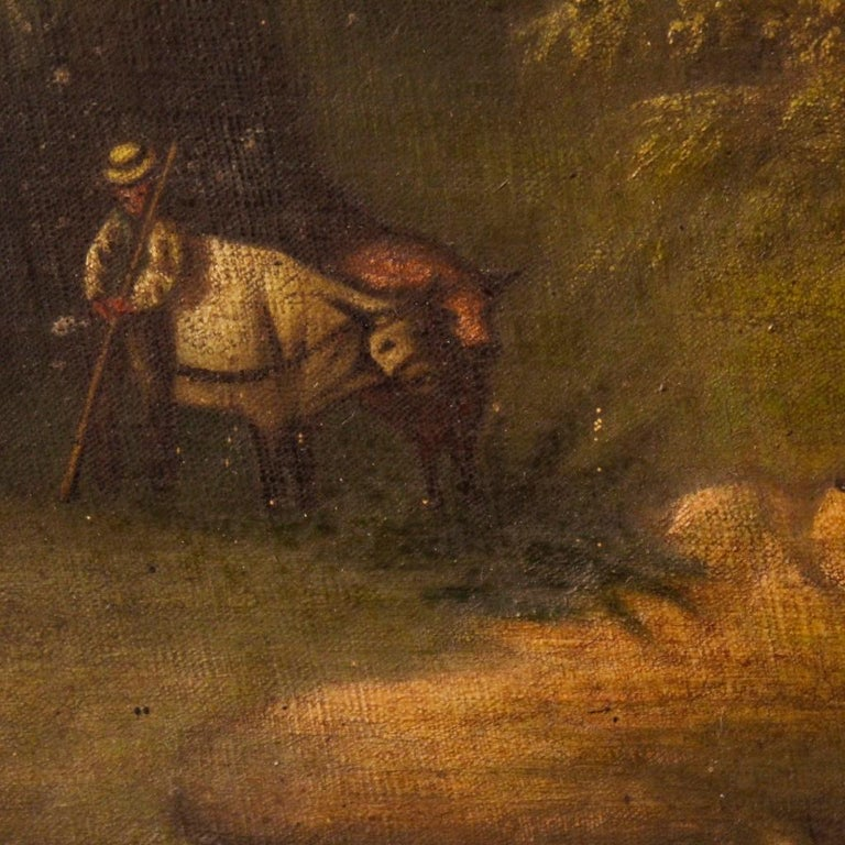 19th Century Oil on Canvas Antique Spanish Signed Landscape Painting, 1880 For Sale 3