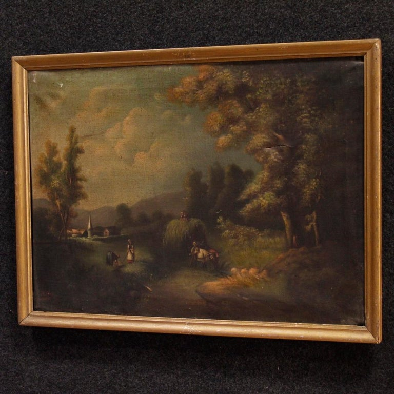 19th Century Oil on Canvas Antique Spanish Signed Landscape Painting, 1880 For Sale 4