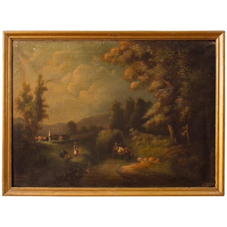 19th Century Oil on Canvas Antique Spanish Signed Landscape Painting, 1880 For Sale