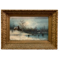 19th Century Oil on Canvas Artist Signed, Skating on the Lake