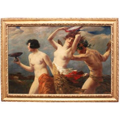 19th Century Oil on Canvas Bacchante Group Attributed to Leopold Schmutzler