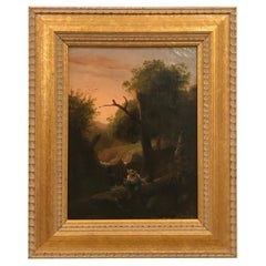 19th Century Oil on Canvas Bucolic Scene of Boy Fishing