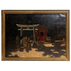 "19th Century Oil on Canvas by Francis Heydhart,  ""A Courtyard Ceremony, Nikko"""