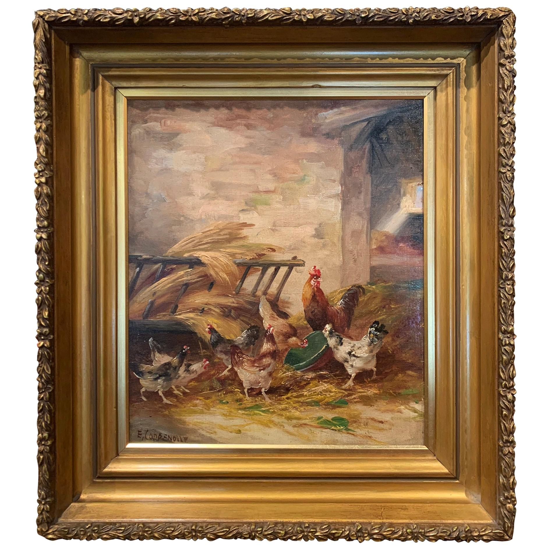 19th Century Oil on Canvas Chicken Painting in Gilt Frame Signed E. Coppenolle