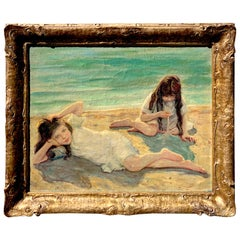 19th Century Oil on Canvas Children Playing on the Beach