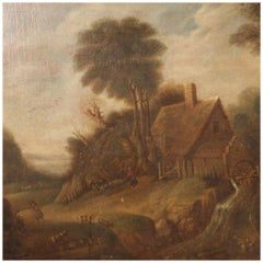 19th Century Oil on Canvas Country Landscape Flemish Painting, 1830