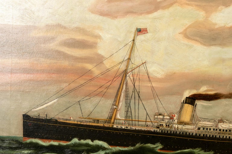 19th century oil on canvas depicting a mail steamer sailing under an evening sky. Garnishing American & English flags, passengers can be seen conversing and wandering the deck. Appearing to be unsigned, the painting is mounted in a contemporary
