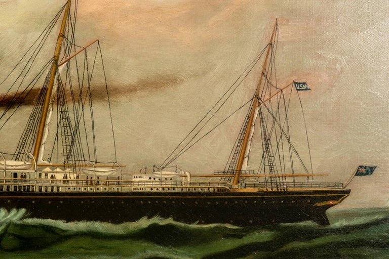 American Classical 19th Century Oil on Canvas Depicting Mail Steamer Sailing under an Evening Sky For Sale