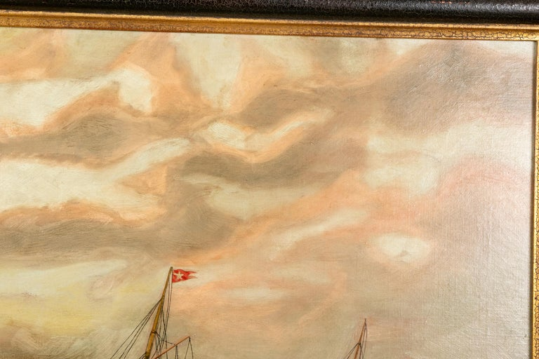 Painted 19th Century Oil on Canvas Depicting Mail Steamer Sailing under an Evening Sky For Sale