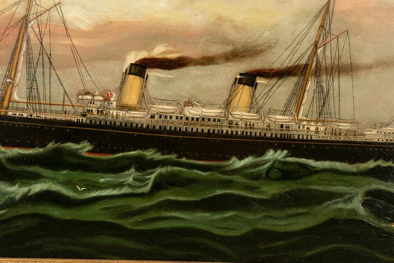 19th Century Oil on Canvas Depicting Mail Steamer Sailing under an Evening Sky In Good Condition For Sale In Bridgeport, CT