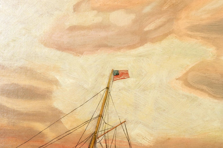 19th Century Oil on Canvas Depicting Mail Steamer Sailing under an Evening Sky For Sale 3