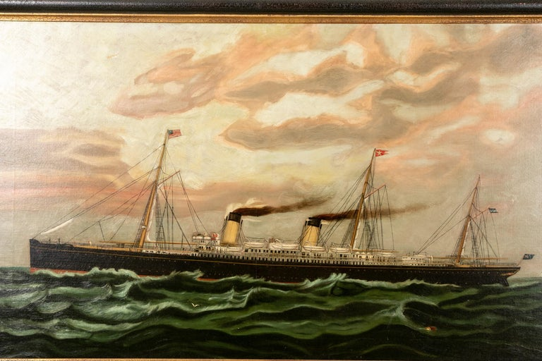 19th Century Oil on Canvas Depicting Mail Steamer Sailing under an Evening Sky For Sale 4