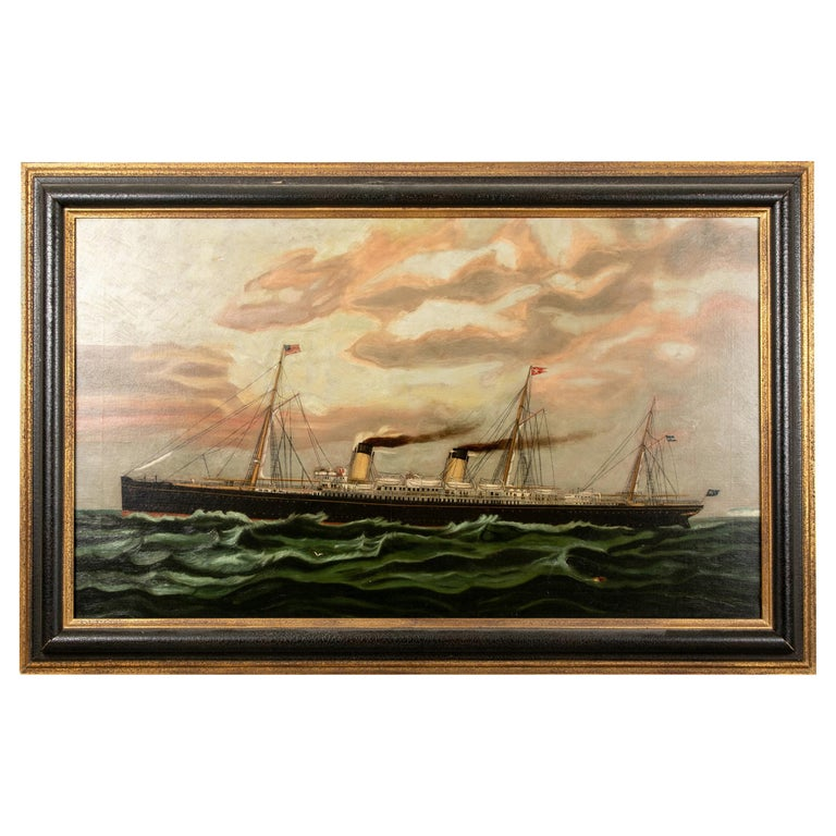 19th Century Oil on Canvas Depicting Mail Steamer Sailing under an Evening Sky For Sale