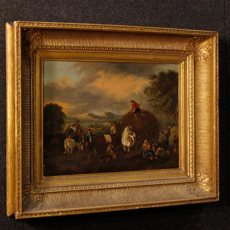19th Century Oil on Canvas Dutch Painting Rural Scene with Characters, 1870 For Sale 6