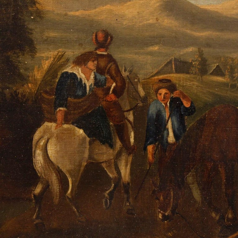 19th Century Oil on Canvas Dutch Painting Rural Scene with Characters, 1870 In Good Condition For Sale In Vicoforte, Piedmont