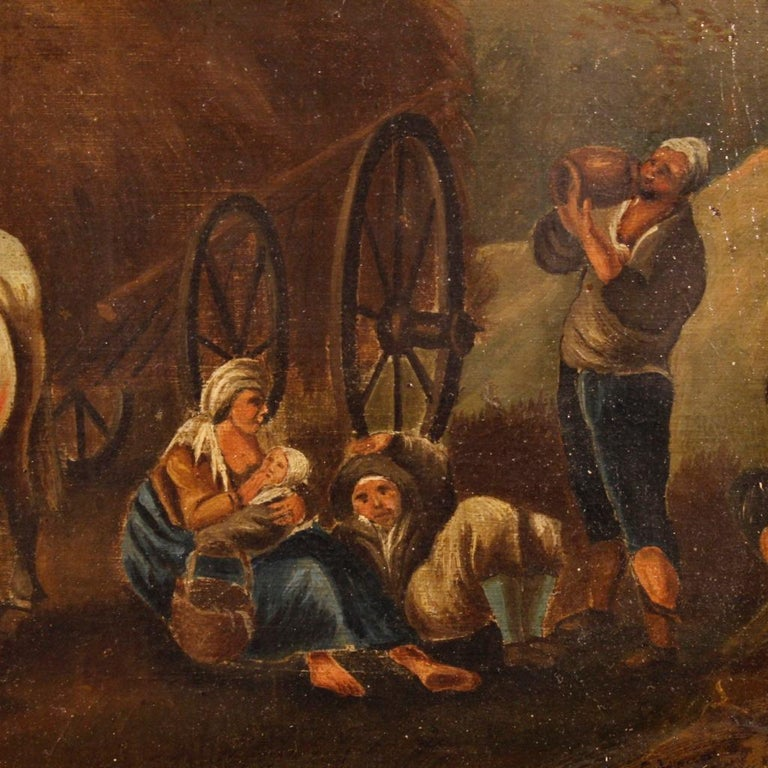 19th Century Oil on Canvas Dutch Painting Rural Scene with Characters, 1870 For Sale 1