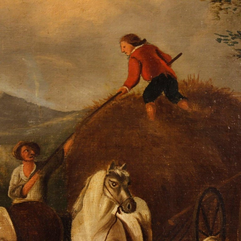 19th Century Oil on Canvas Dutch Painting Rural Scene with Characters, 1870 For Sale 2