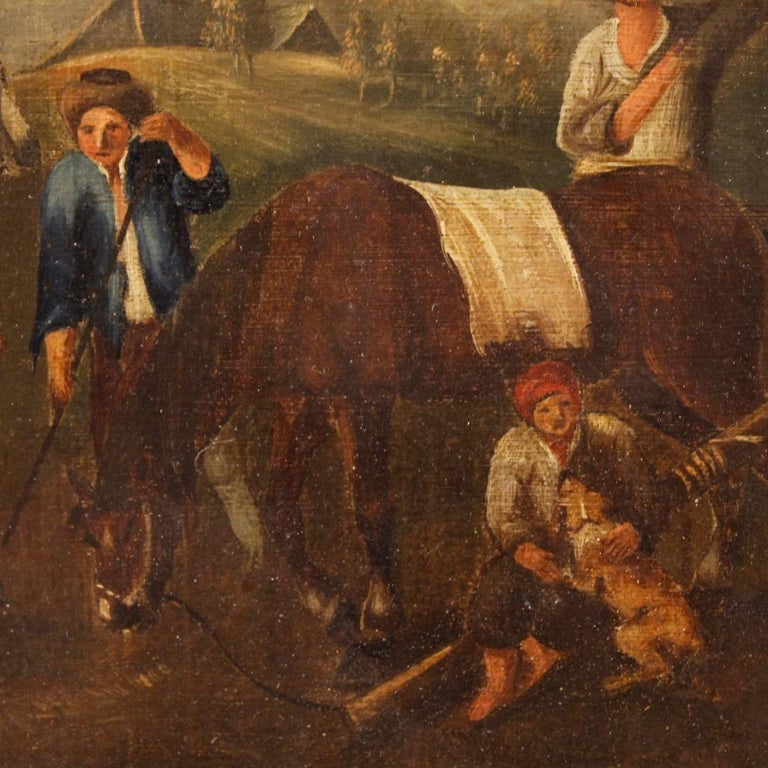 19th Century Oil on Canvas Dutch Painting Rural Scene with Characters, 1870 For Sale 4