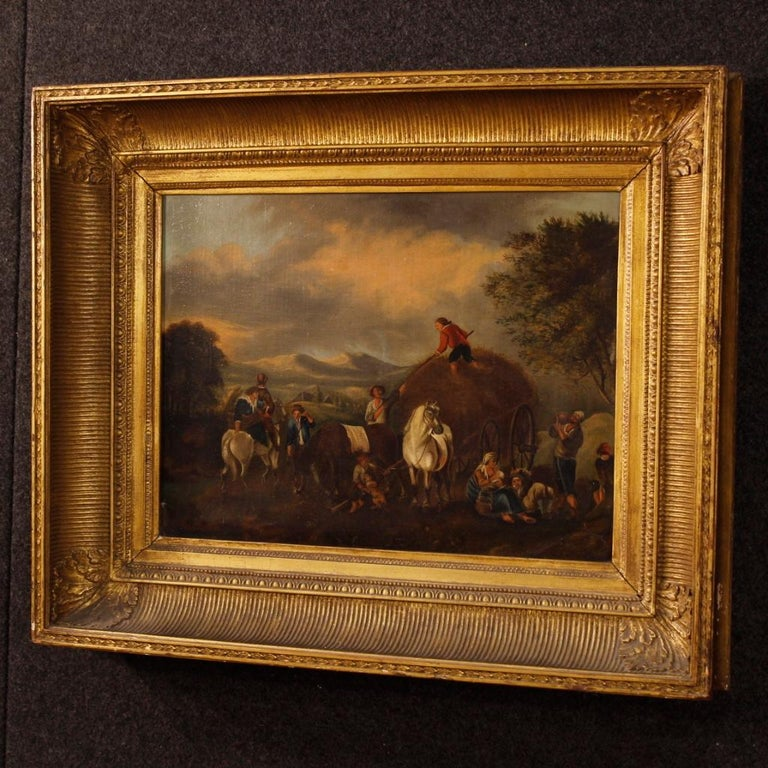 19th Century Oil on Canvas Dutch Painting Rural Scene with Characters, 1870 For Sale 5